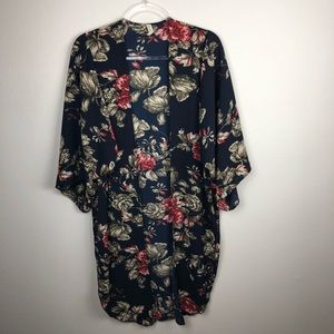 Floral Print Sheer Open Front Long Cardigan M